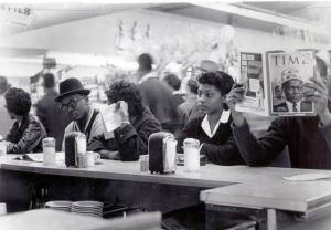 TSU students sitting at the lunch counter at Weingarten's supermarket on March 4, 1960.